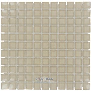 "Illusion Glass Tile - 1"" Mosaic Tile in Sand Dollar"