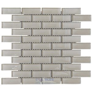 "Illusion Glass Tile - 7/8"" x 2 7/8"" Brickset Mosaic Tile in Tluna"