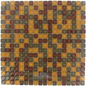 "Illusion Glass Tile - 5/8"" x 5/8"" Glass Mosaic Tile in Paprika Glitter"