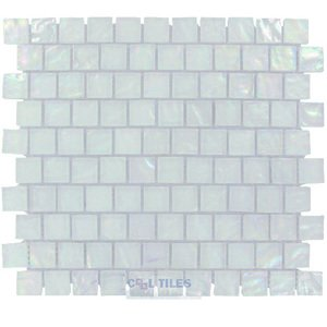 "Illusion Glass Tile - 7/8"" x 7/8"" Glass Mosaic Tile in White Cosmo"