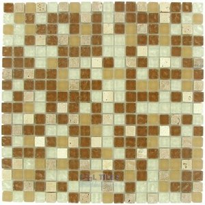 "Illusion Glass Tile - 5/8"" x 5/8"" Glass and Stone Mosaic Tile in Tumble Rain"