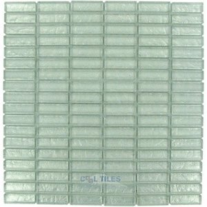 "Illusion Glass Tile - 5/8"" x 1 7/8"" Straight Set Glass Mosaic Tile in Ice Glitter"