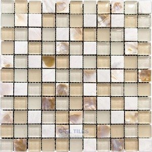 "Illusion Glass Tile - North Shore - 1"" Mosaic Tile in Pearl Beach"