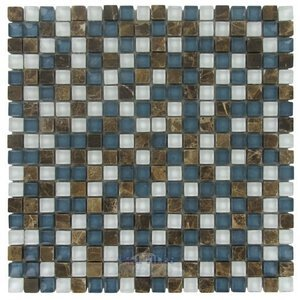 "Illusion Glass Tile - 5/8"" x 5/8"" Stone & Glass Mosaic Tile in Montego Bay"