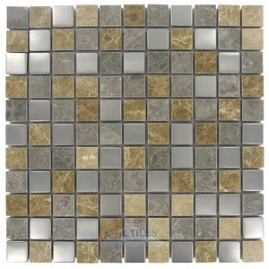 "Illusion Glass Tile - Metals  - 1"" x 1"" Mosaic Tile in Frosted Birch"