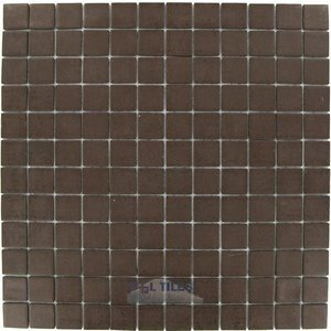 "Mosaic Glass Tile by Vidrepur - Essentials Collection 1"" x 1"" Recycled Glass Tile on 12 1/2"" x 12 1/2"" Mesh Backed Sheet in Chocolate"