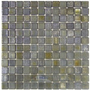 Mosaic Glass Tile by Vidrepur Glass Mosaic Deco Collection Recycled Glass Tile Mesh Backed Sheet in Metalic