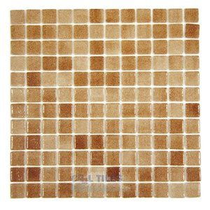 Mosaic Glass Tile by Vidrepur Glass Mosaic Nieblas Collection Recycled Glass Tile Mesh Backed Sheet in Fog Brown