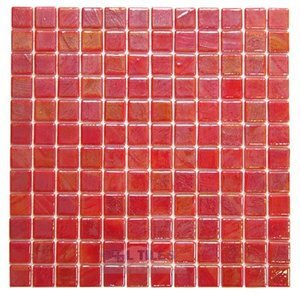 Mosaic Glass Tile by Vidrepur Glass Mosaic Titanium Collection Recycled Glass Tile Mesh Backed Sheet in Red  Iridescent