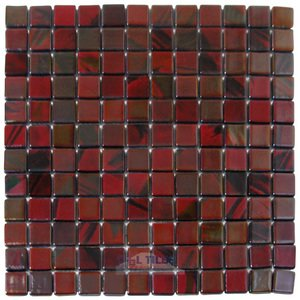 Mosaic Glass Tile by Vidrepur Glass Mosaic Titanium Collection Recycled Glass Tile Mesh Backed Sheet in Brushed Black / Red Iridescent