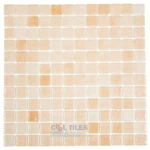 Mosaic Glass Tile by Vidrepur Glass Mosaic Nieblas Collection Recycled Glass Tile Mesh Backed Sheet in Fog Salmon