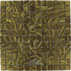 "Mosaic Glass Tile by Vidrepur - Arts Collection 1"" x 1"" Recycled Glass Tile on 12 1/2"" x 12 1/2"" Mesh Backed Sheet in Midas"