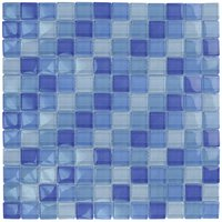 "Aqua Mosaics - Glass Mosaics - 1"" x 1"" Glass Mosaics in Turquoise Cobalt Blue Blend"