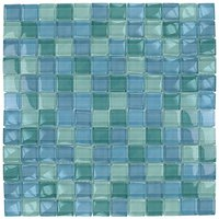 "Aqua Mosaics - Glass Mosaics - 1"" x 1"" Glass Mosaics in Turquoise Blue Blend"