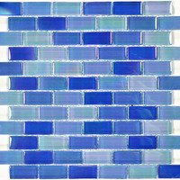 "Aqua Mosaics - Glass Mosaics - 1"" x 2"" Brick Crystal Iridescent Mosaic in Bright Blue Blend"