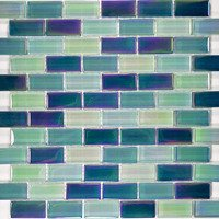 "Aqua Mosaics - Glass Mosaics - 1"" x 2"" Brick Crystal Iridescent Mosaic in Sea Green Blend"