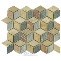 "Clear View Mosaic Tile - Marble and Travertine Mosaics - 1 1/8"" x 2"" Diamond Mix in Classic, Noce, Gold Travertine, Rojo Alicante, Black Marble"
