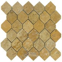 "Clear View Mosaic Tile - Hexagon Stone Tiles - 2"" x 2 5/8"" Hexagon in Polished Gold Travertine"