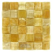 "Clear View Mosaic Tile - Pillowed Marble and Travertine Tiles - 2"" x 2"" Pillowed Tile in Honey Onyx Polished 12"" x 12"" Mesh Backed Sheet"