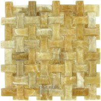 "Clear View Mosaic Tile - Pillowed Marble and Travertine Tiles - Basketweave Pillowed Tile in Honey Onyx Polished 12"" x 12"" Mesh Backed Sheet"