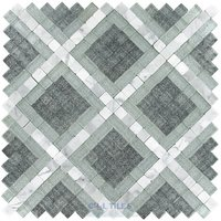 Clear View Mosaic Tile - Bergammo Pales - Bergammo - Diamond Pattern Glass & Carrara Marble Pales Dante Mosaic Tile in Fogia