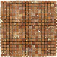 "Clear View Mosaic Tile - Small Marble and Travertine Mosaic Tiles - 5/8"" x 5/8"" Small Mosaic Tile Rojo Alicante Polished 12"" x 12"" Mesh Backed Sheet"