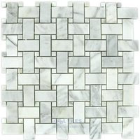 "Clear View Mosaic Tile - Basketweave Marble and Travertine Mosaic Tiles - Basketweave White Carrara Polished 12"" x 12"" Mesh Backed Sheet"