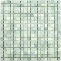 "Clear View Mosaic Tile - Small Marble and Travertine Mosaic Tiles - 5/8"" Small Mosaic Tile Ming Green Tumbled 12"" x 12"" Mesh Backed Sheet"
