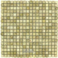 "Clear View Mosaic Tile - Small Marble and Travertine Mosaic Tiles - 5/8"" x 5/8"" Small Mosaic Tile Light Travertine Polished 12"" x 12"" Mesh Backed Sheet"