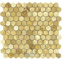 "Clear View Mosaic Tile - Hexagon Stone Tiles - Hexagon Light Travertine Polished 12"" x 12"" Mesh Backed Sheet"