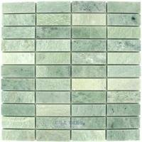 "Clear View Mosaic Tile - Marble and Travertine Mosaics - Marble Mosaics Ming Green Polished 12"" x 12"" Mesh Backed Sheet"