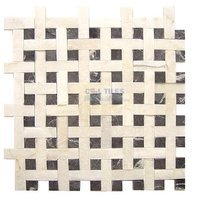 "Clear View Mosaic Tile - Split Face Marble and Travertine Mosaics - Basketweave Split face Thassos White, Roudy Black 11 1/4"" x 11 1/4"" Mesh Backed Sheet"