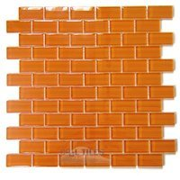 "Diamond Tech Tiles - Dimensions - Orange 1"" x 2"" Brick Mesh Mounted Sheets"