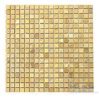 "Diamond Tech Tiles - Mosaic - 5/8"" Squares in Gold Travertine Honed Mesh Mounted Sheets"