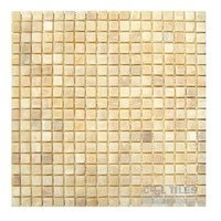 "Diamond Tech Tiles - Mosaic - 5/8"" Squares in Honey Tumbled Mesh Mounted Sheets"