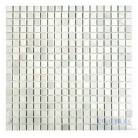 "Diamond Tech Tiles - Mosaic - 5/8"" Squares in White Statuary Polished Mesh Mounted Sheets"