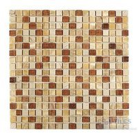 "Diamond Tech Tiles - Mosaic - 5/8"" Squares in Honey/Crema/Timber Mesh Mounted Sheets"