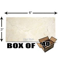 "Diamond Tech Tiles - Accents - Box of Solid 3"" x 6"" Tile in Crema Marfil Honed"