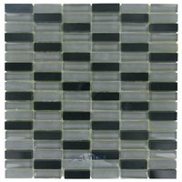 "Diamond Tech Tiles - Impact - /8"" x 1 7/8"" Stacked Glass Mosaic Tile in Nocturne"