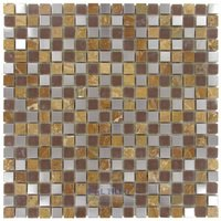 "Diamond Tech Tiles - Impact - /8"" x 5/8"" Glass and Metal Mosaic Tile in Parchment Metal"
