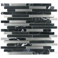 Diamond Tech Tiles - Impact - taggered Glass and Metal Mosaic Tile in Midnight Metal