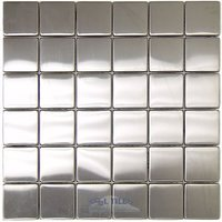 "Diamond Tech Tiles - Stainless Steel - 1 7/8"" Square Mosaic Mesh Mounted Sheets"