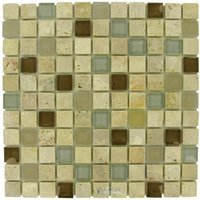 Diamond Tech Tiles - Mosaic - Fennel in Travertine with Frosted and Translucent Glass