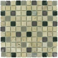 Diamond Tech Tiles - Mosaic - Exotic Plum in Travertine with Frosted and Translucent Glass