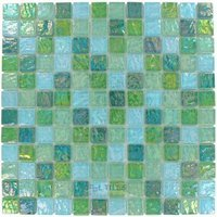"Elida Ceramica - Emperial Tile - 12""x12"" Glass Mosaic in Mint Oil"