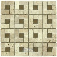 "Elida Ceramica - Emperial Tile - Glass & Stone - 12""x12"" Glass Mosaic in Tumbled Eye"
