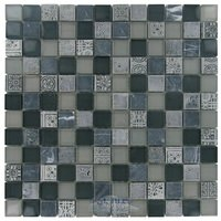 "Distinctive Glass Tile - Glass & Art Stone Mosaic - 11 3/4"" x 11 3/4"" Glass & Stone Mosaic in Atlantis"