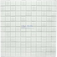 "Distinctive Glass Tile - Color Block - 1"" Color Block Snow 12"" x 12"" Mesh Backed Sheet"