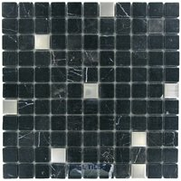"Distinctive Glass Tile - Marble/Stainless Steel - Marble Mosaic Black and Stainless Steel Squares 12"" x 12"" Mesh Backed Sheet"