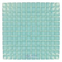 "HotGlass - Horizon - 1"" x 1"" Glass Tile in Bermuda Blue 11 5/8"" x 11 5/8"" Mesh Backed Sheet"